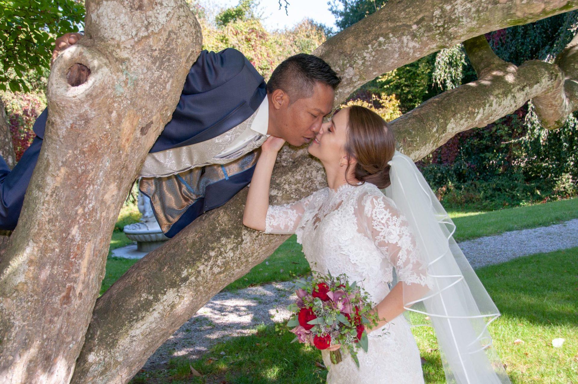 Braut küsst Ehemann auf Baum