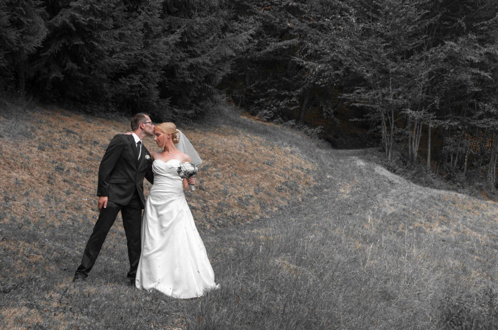 Brautpaar auf grauer Wiese